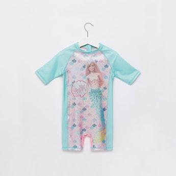 Barbie Graphic Print Swimsuit with Zip Closure