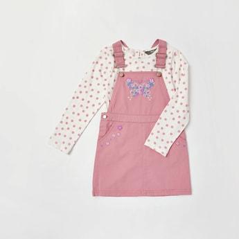 Polka Dot Print T-shirt and Embroidered Pinni Set