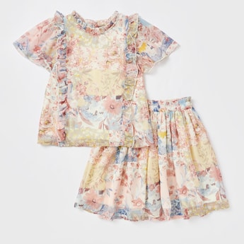 All-Over Print Frill Top and Skirt Set