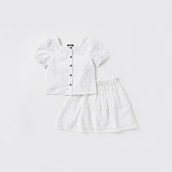 Broderie Anglaise Short Sleeves Top and Skirt Set