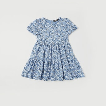 All-Over Floral Print Tiered Dress with Short Sleeves
