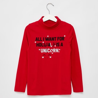 Slogan Print High Neck T-shirt with Long Sleeves