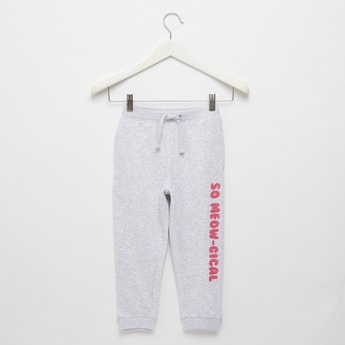 Typographic Print Jog Pants with Drawstring Closure