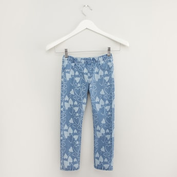 Heart Print Jeggings with Elasticised Waistband