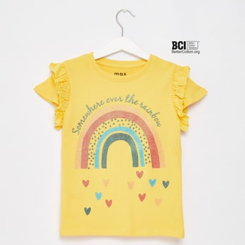 Rainbow Print T-shirt with Cap Sleeves and Round Neck