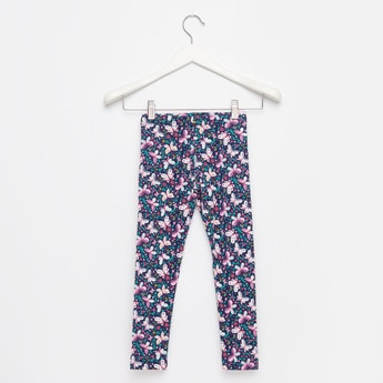Skinny Fit Full Length Butterfly Print Leggings with Elasticated Waist