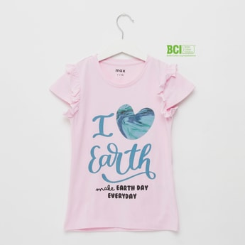 Slogan Print T-shirt with Cap Sleeves and Round Neck