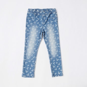 Full Length Butterfly Print Jeggings with Elasticised Waistband