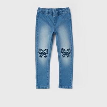 Solid Jeggings with Bow Embroidery Detail