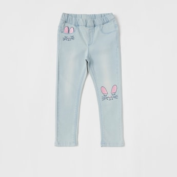 Solid Jeggings with Rabbit Embroidered Detail
