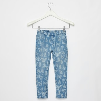 Butterfly Print Jeans with Pockets and Elasticised Waistband