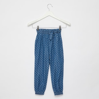 Dot Print Trousers with Elasticated Waist and Side Bow