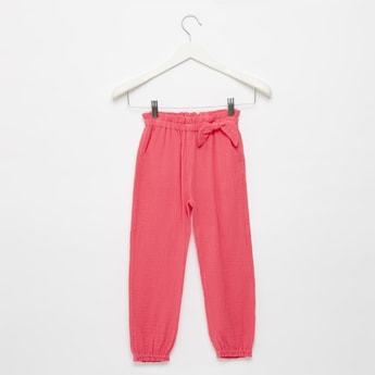 Textured Side Bow Detail Joggers with Elasticated Waistband