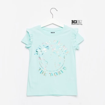 Printed Round Neck T-shirt with Ruffle Detail Cap Sleeves