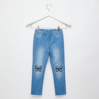 Embroidered Butterfly Detail Jeggings with Pocket Detail and Elasticated Waistband