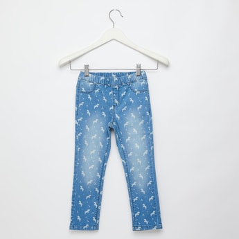 Unicorn Print Jeggings with Pockets and Elasticised Waistband