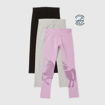 Pack of 3 - Skinny Fit Assorted Leggings with Elasticised Waistband