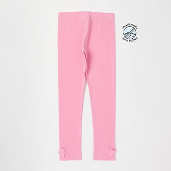 Solid Full Length Leggings with Bow Accent and Elasticated Waistband