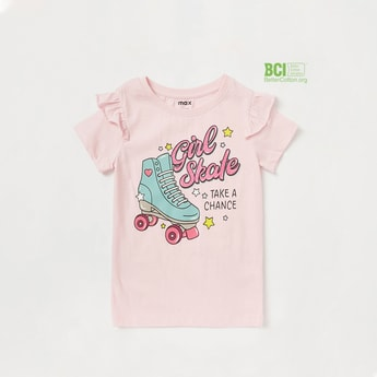 Roller Skate Graphic Print T-shirt with Short Sleeves