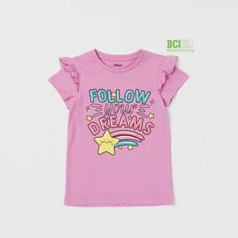 Typographic Print Round Neck T-shirt with Ruffle Detail