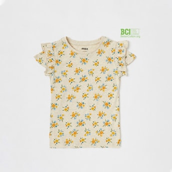 All-Over Floral Print T-shirt with Round Neck and Cap Sleeves