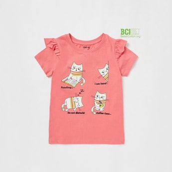 Graphic Print T-shirt with Short Sleeves and Frill Detail