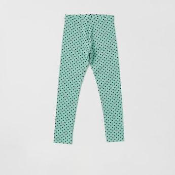 Polka Dot and Panda Print Full-Length Leggings