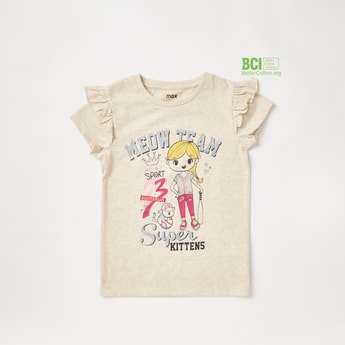 Graphic Print T-shirt with Round Neck and Ruffle Detailed Sleeves