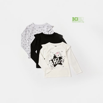 Set of 3 - Assorted Round Neck T-shirt with Long Sleeves and Frills