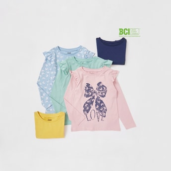 Set of 5 - Assorted T-shirt with Long Sleeves and Ruffle Detail
