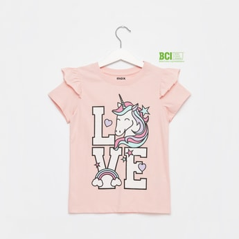 Unicorn Print Round Neck T-shirt with Cap Sleeves and Ruffle Detail