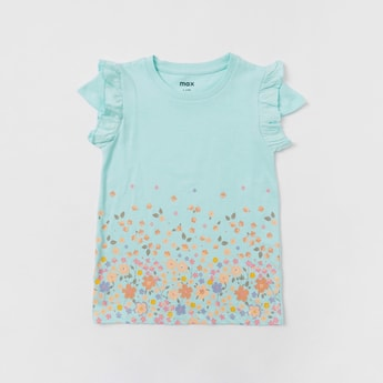 Floral Print T-shirt with Round Neck and Cap Sleeves