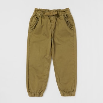 Solid Jog Pants with Bow Applique and Ruffle Detail