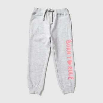 Text Print High-Rise Jog Pants with Elasticated Waistband and Pockets