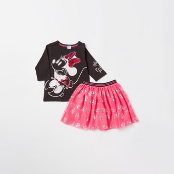 Minnie Mouse Graphic Print T-shirt with Mesh Detail Skirt