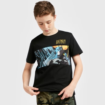 Batman Scene Panel Print T-shirt with Short Sleeves