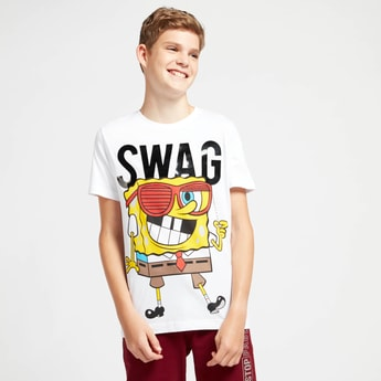 SpongeBob SquarePants Graphic Print T-shirt with Crew Neck