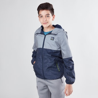 Colourblock Zip Front Hoodie with Long Sleeves