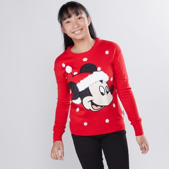 Mickey Mouse Printed Sweater with Round Neck and Long Sleeves