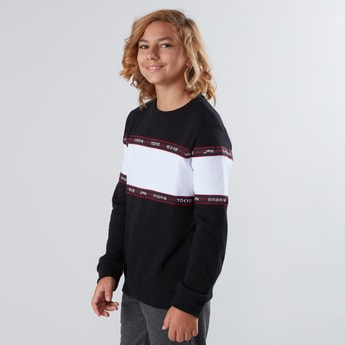Colourblocked Sweatshirt with Round Neck and Long Sleeves