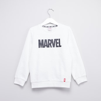 Marvel Print Round Neck Sweatshirt with Long Sleeves