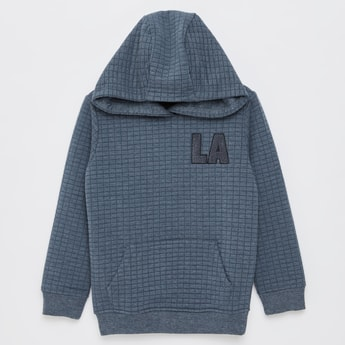 Textured Hoodie with Long Sleeves and Kangaroo Pocket