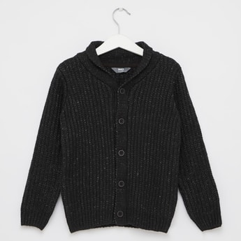 Textured Sweater with Long Sleeves and Shawl Collar
