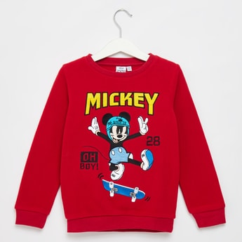 Micky Mouse Print Round Neck Sweatshirt with Long Sleeves