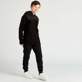 Textured Jacket with Quilted Hood and Long Sleeves