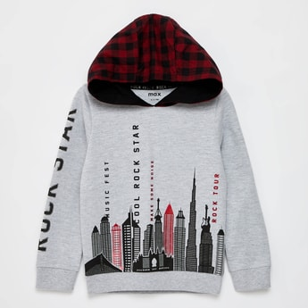 Printed Sweatshirt with Long Sleeves and Checked Hood