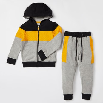 Quilted Panel Zip Through Hoodie and Full Length Jog Pants Set