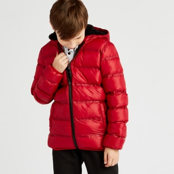 Solid Quilted Jacket with Hood and Long Sleeves