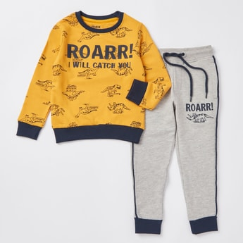 Printed Long Sleeves Sweatshirt with Full Length Jog Pants Set