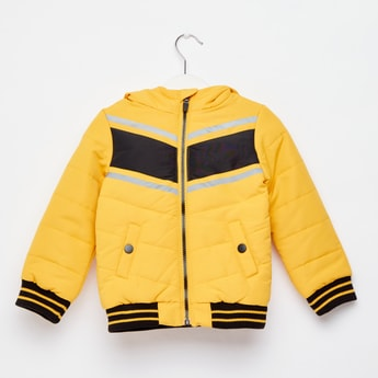 Striped Jacket with Hood and Long Sleeves